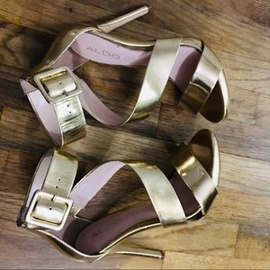 Golden genuine leather  and golden heels